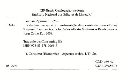 Ficha catalográfica de Vida para consumo do Bauman