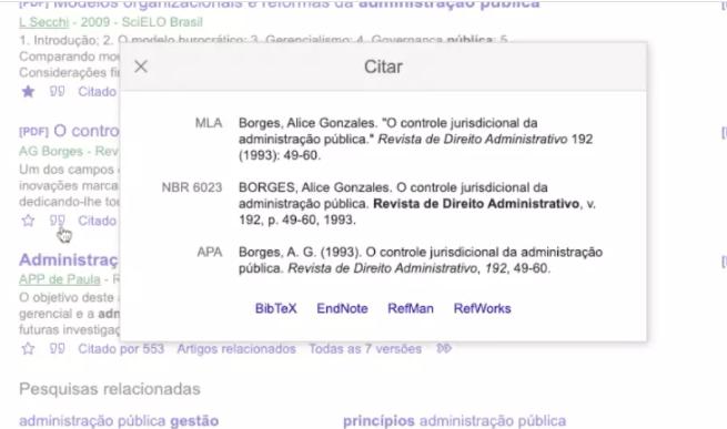 Referências bibliográficas no Google Acadêmico
